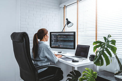 Female insurance agent working remotely