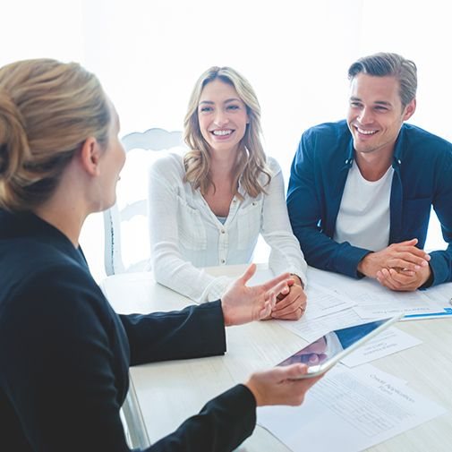 employee talking with clients