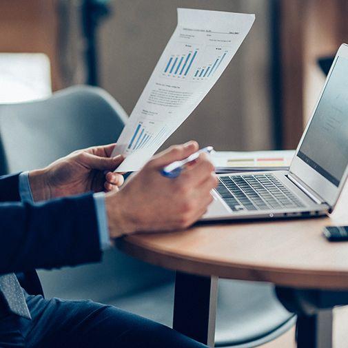 laptop and data sheet